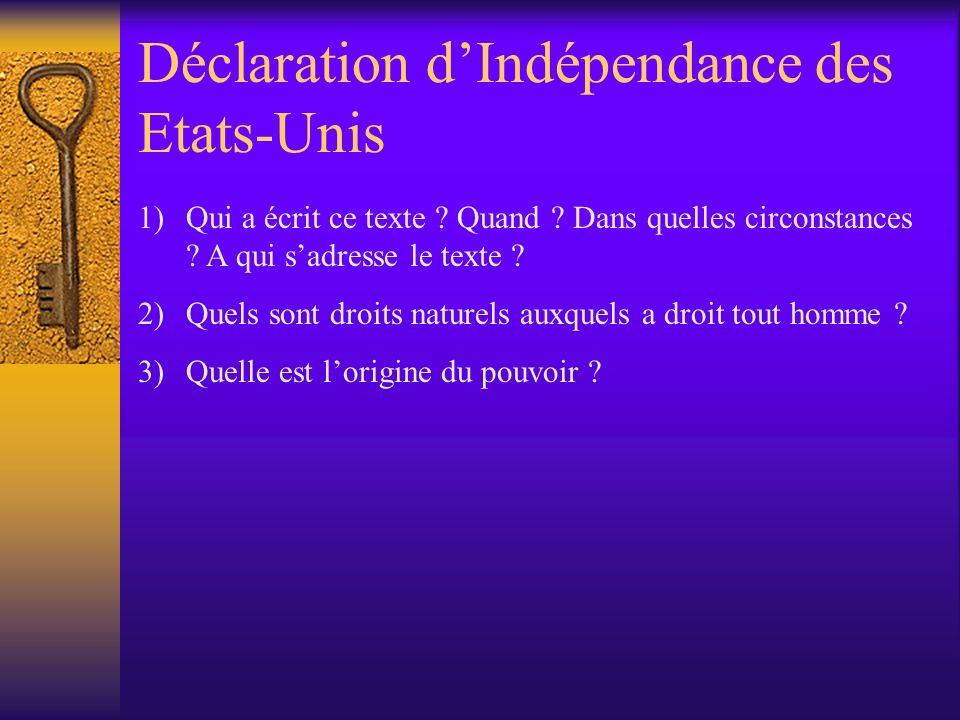 Déclaration d'Indépendance des Etats-Unis