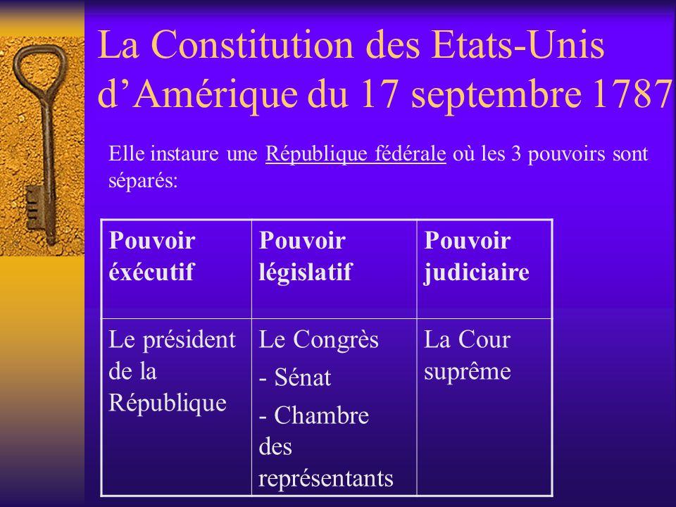 La Constitution des Etats-Unis d'Amérique du 17 septembre 1787