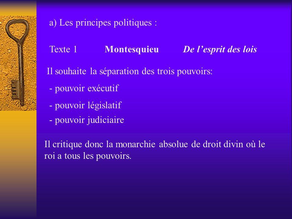 a) Les principes politiques :