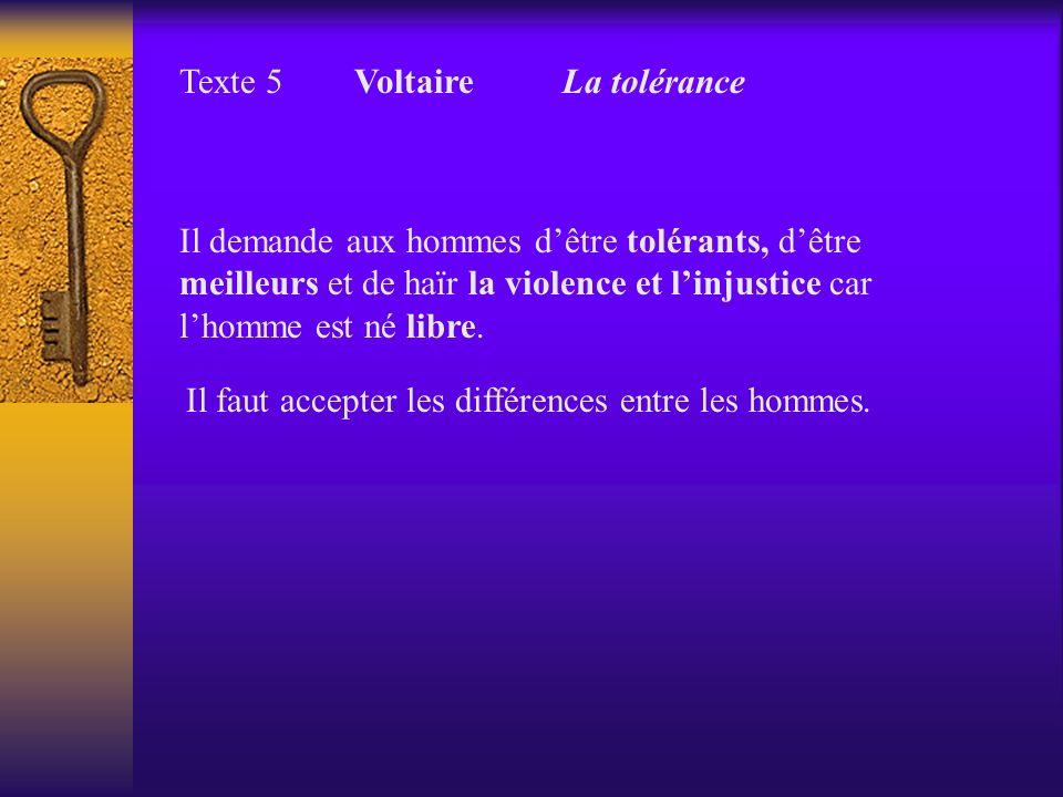 Texte 5 Voltaire La tolérance