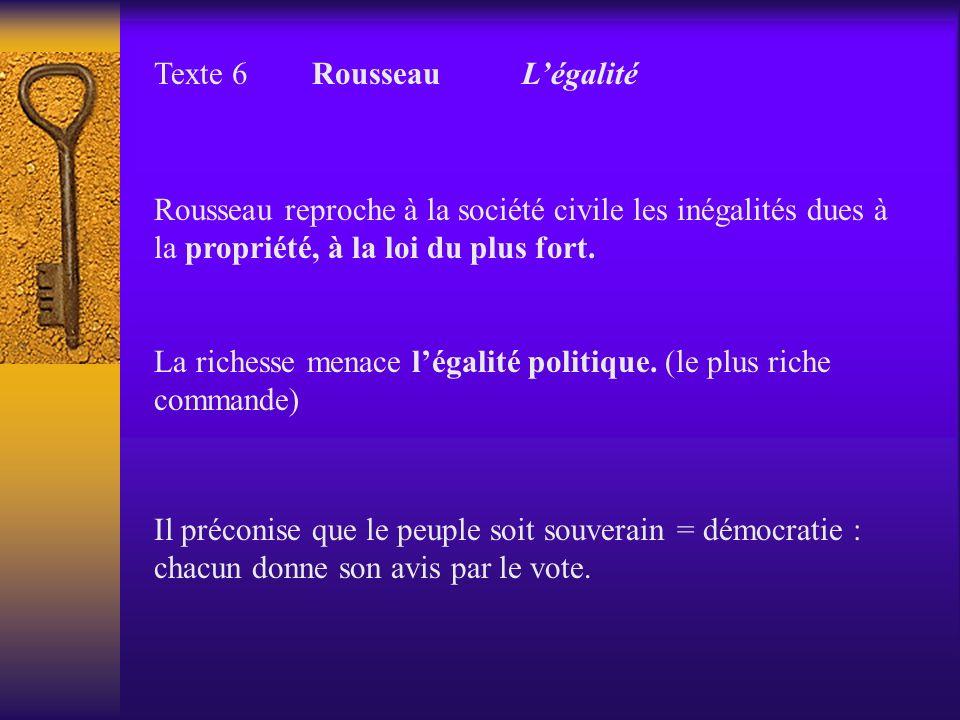 Texte 6 Rousseau L'égalité