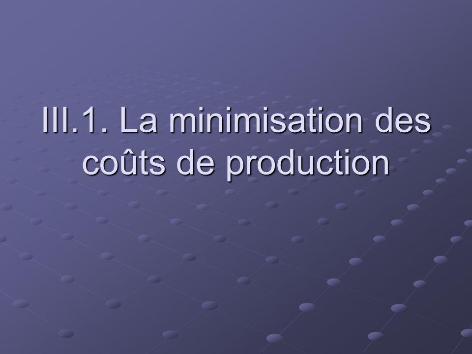 III.1. La minimisation des coûts de production