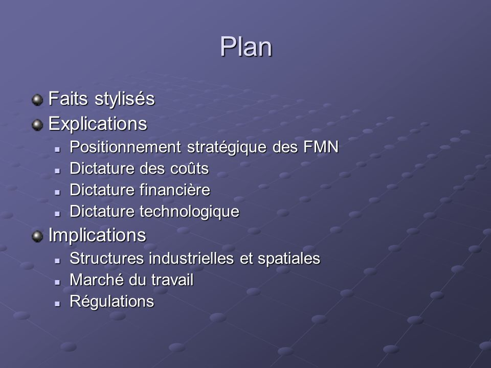 Plan Faits stylisés Explications Implications