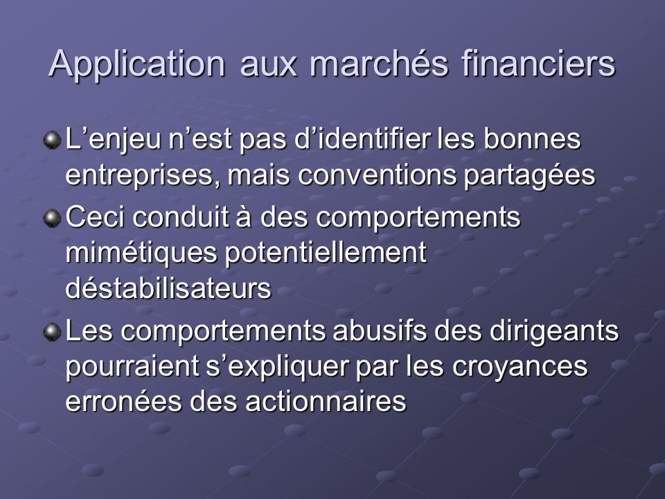 Application aux marchés financiers
