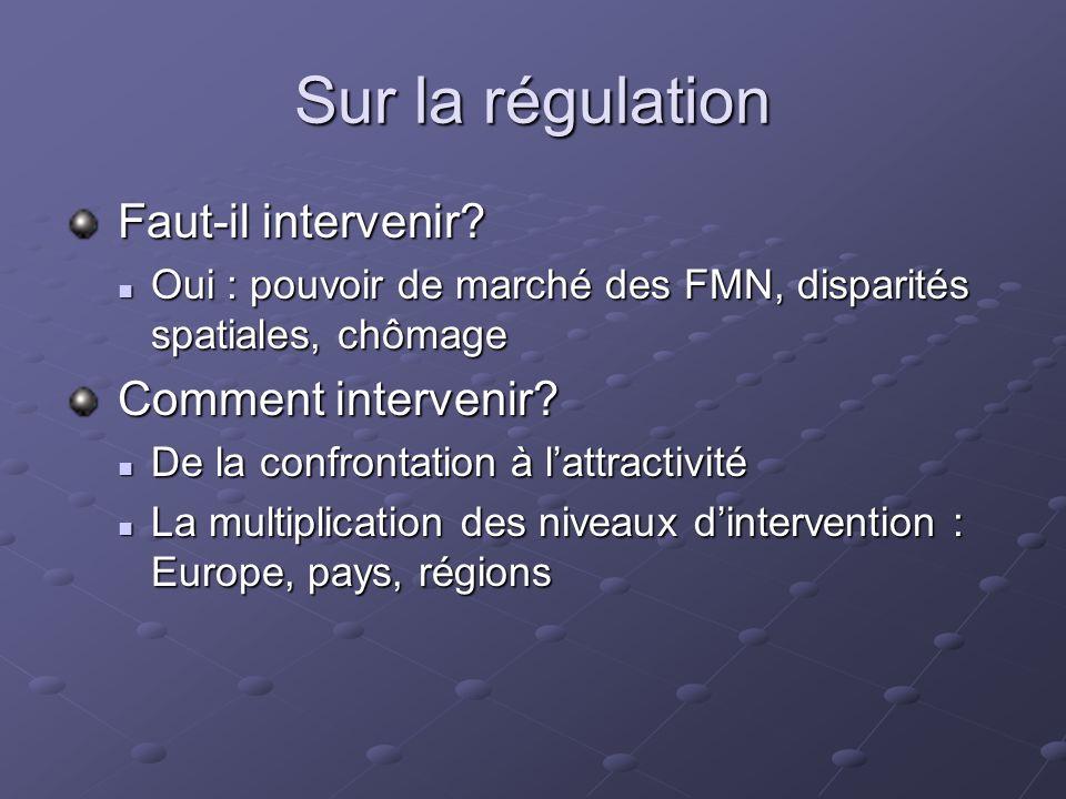 Sur la régulation Faut-il intervenir Comment intervenir