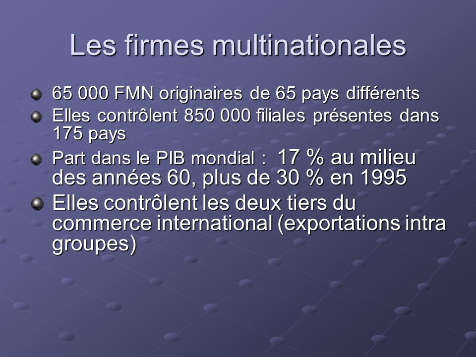 Les firmes multinationales