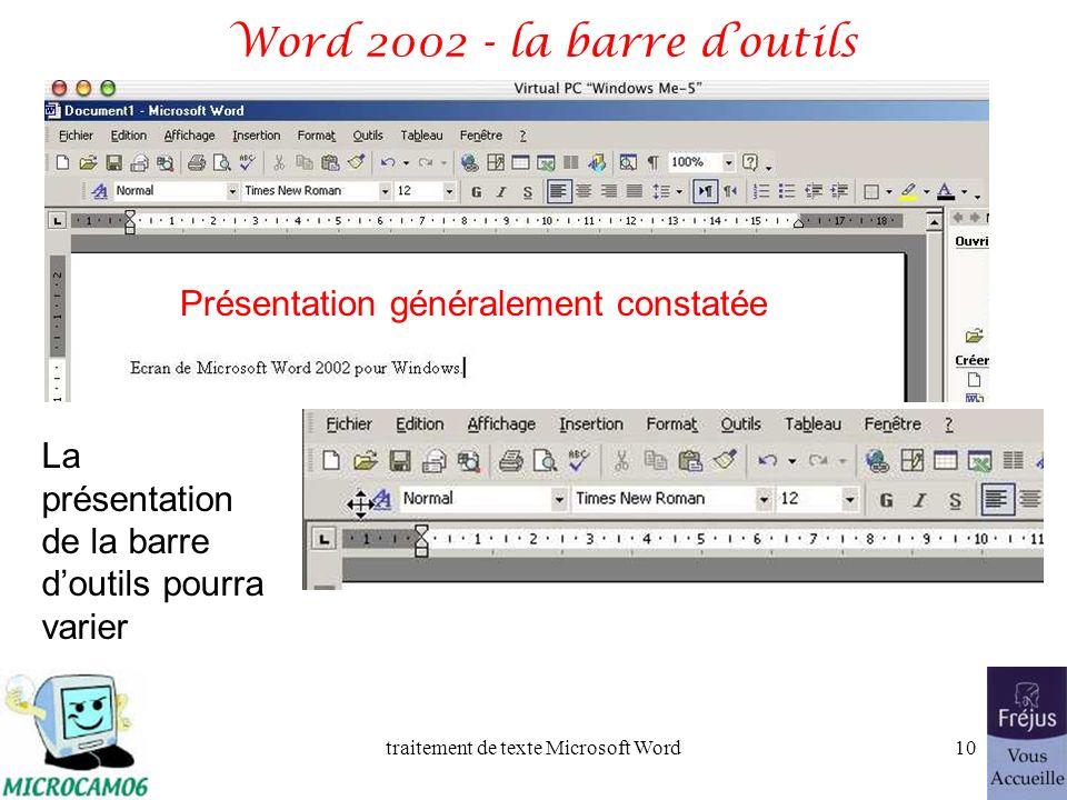 Word 2002 - la barre d'outils