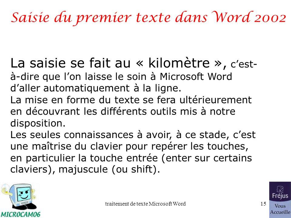 Saisie du premier texte dans Word 2002