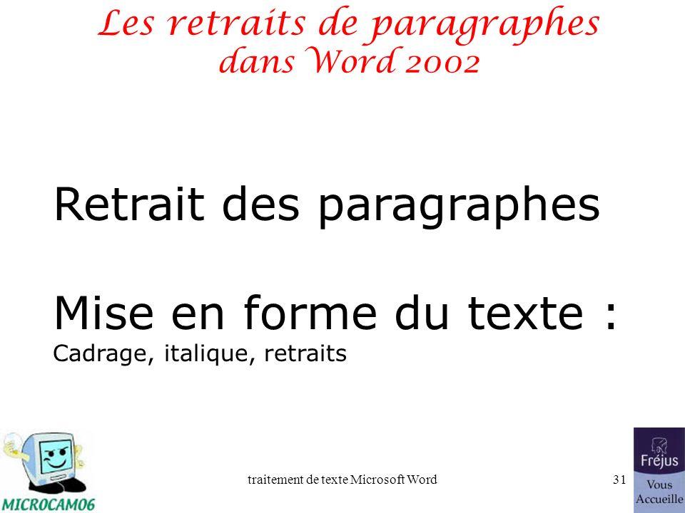 Les retraits de paragraphes dans Word 2002