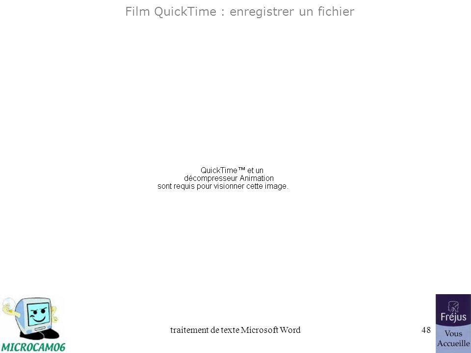 Film QuickTime : enregistrer un fichier