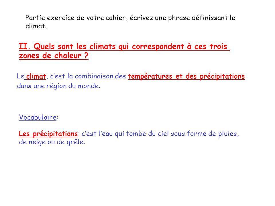 II. Quels sont les climats qui correspondent à ces trois