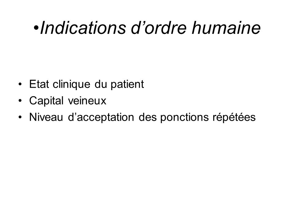 Indications d'ordre humaine