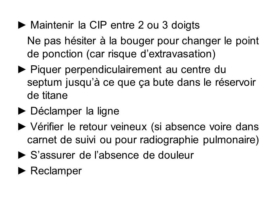► Maintenir la CIP entre 2 ou 3 doigts