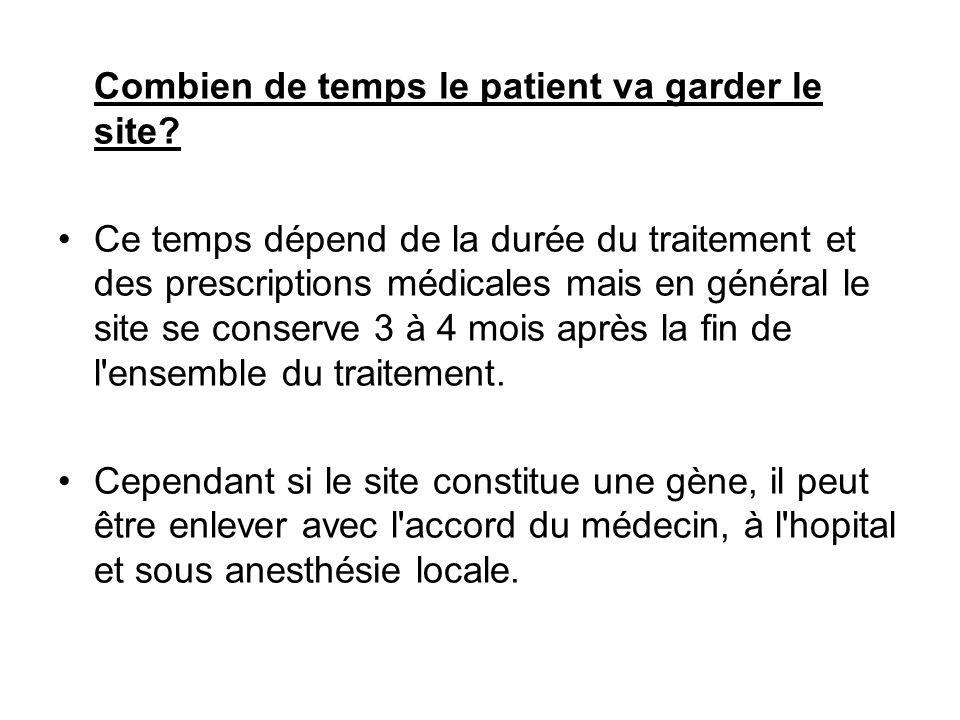 Combien de temps le patient va garder le site