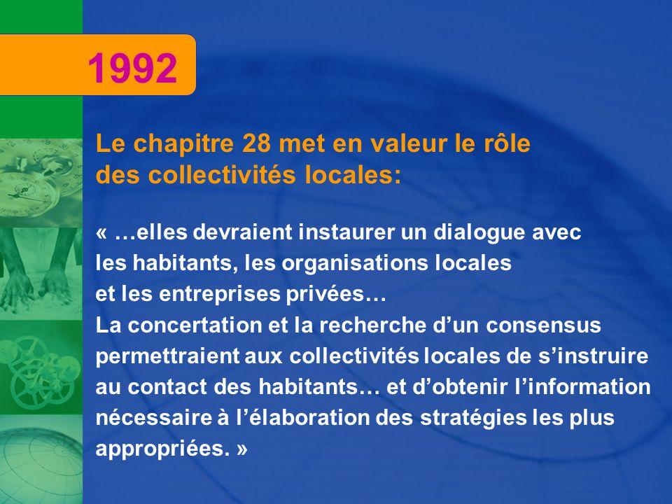 1992 Le chapitre 28 met en valeur le rôle des collectivités locales: