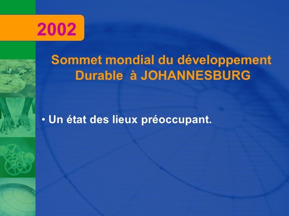 Sommet mondial du développement Durable à JOHANNESBURG