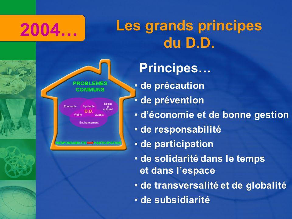 2004… Les grands principes du D.D. Principes… de précaution