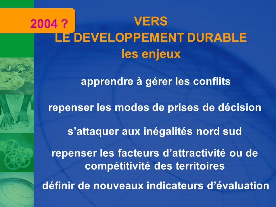 2004 VERS LE DEVELOPPEMENT DURABLE les enjeux