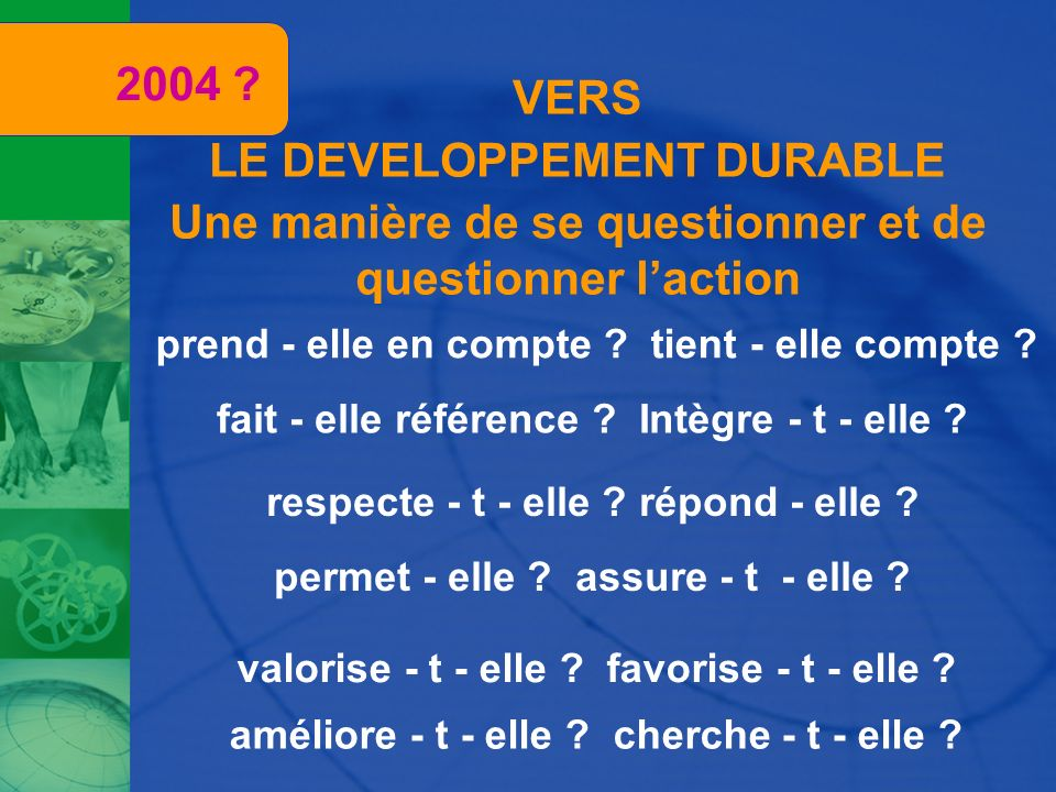 2004 VERS LE DEVELOPPEMENT DURABLE