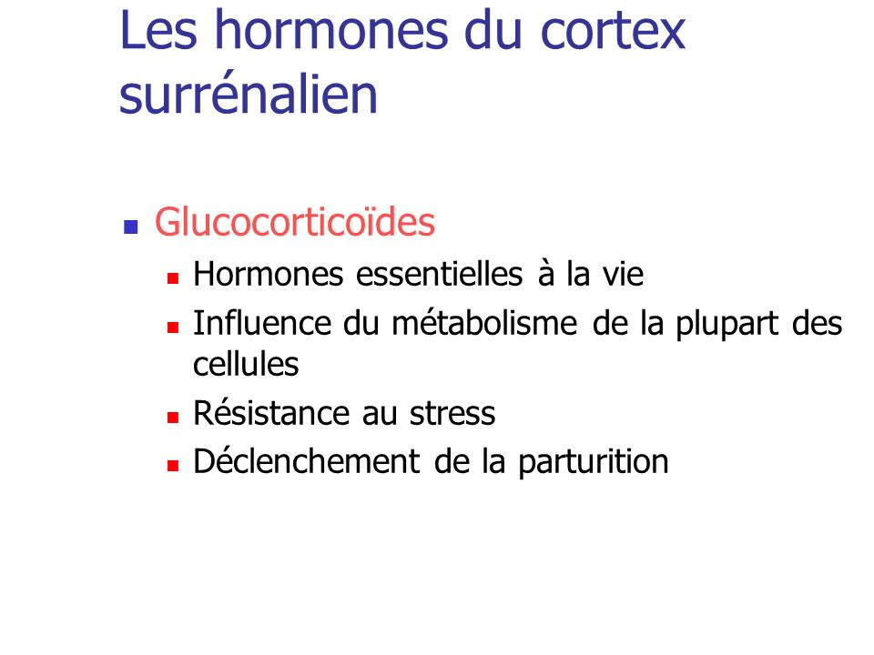 Les hormones du cortex surrénalien
