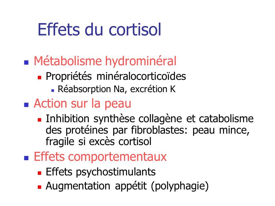 Effets du cortisol Métabolisme hydrominéral Action sur la peau