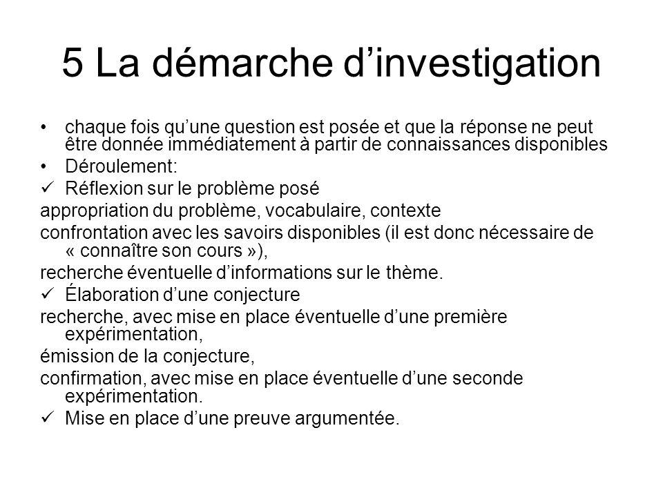 5 La démarche d'investigation