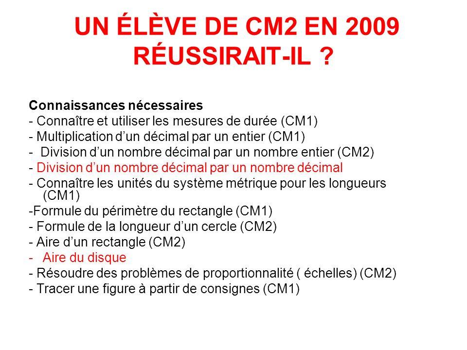 UN ÉLÈVE DE CM2 EN 2009 RÉUSSIRAIT-IL