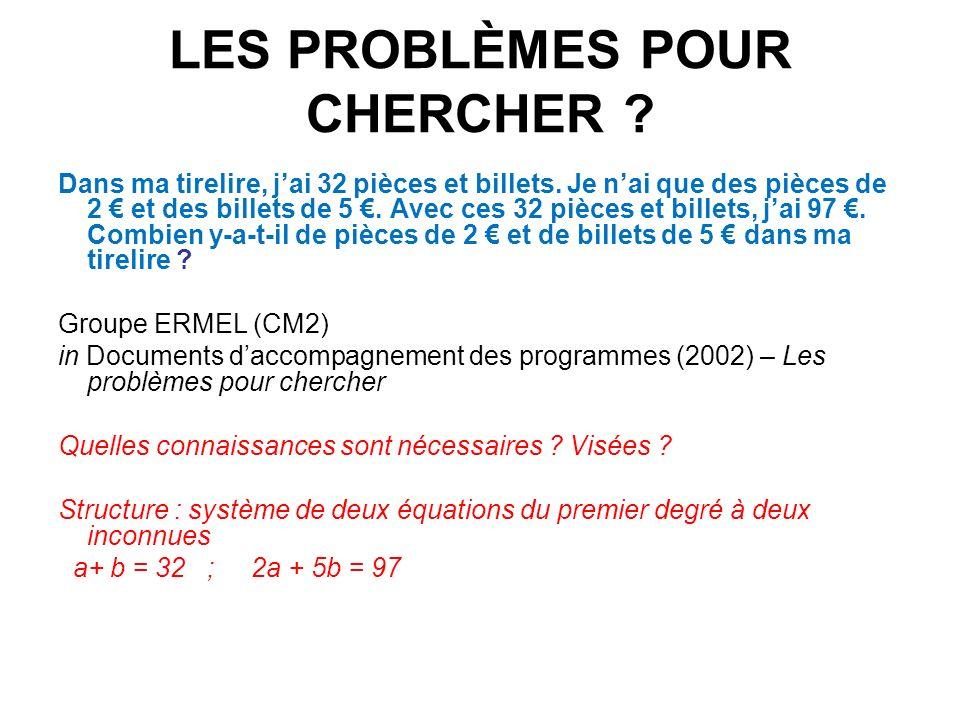 LES PROBLÈMES POUR CHERCHER