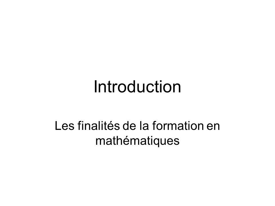 Les finalités de la formation en mathématiques