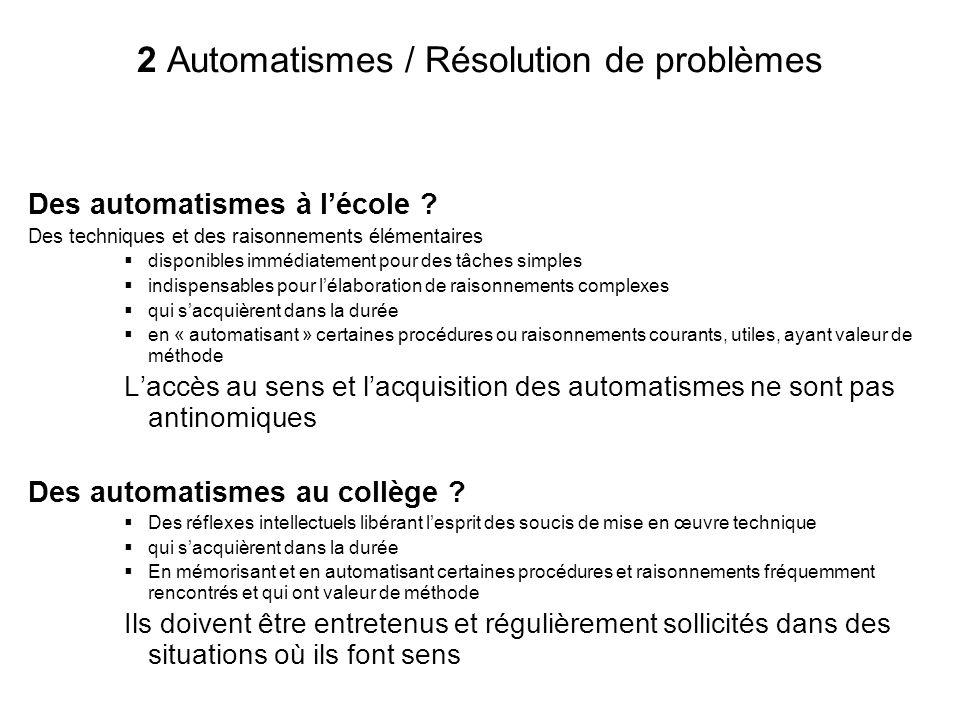 2 Automatismes / Résolution de problèmes