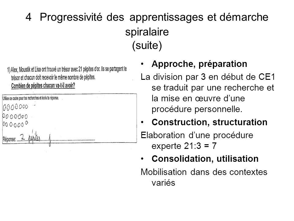 4 Progressivité des apprentissages et démarche spiralaire (suite)