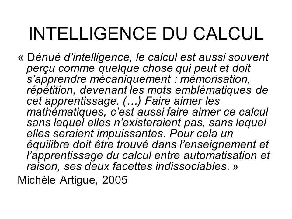 INTELLIGENCE DU CALCUL