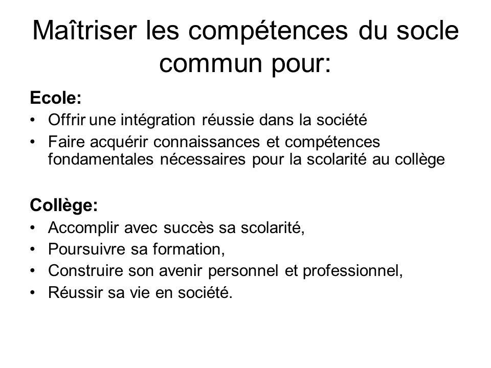 Maîtriser les compétences du socle commun pour: