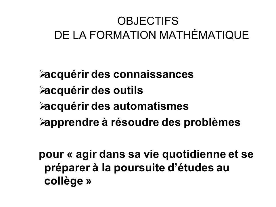 OBJECTIFS DE LA FORMATION MATHÉMATIQUE