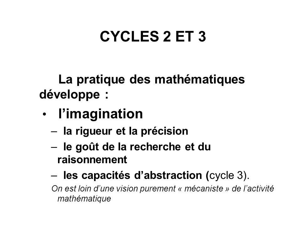 CYCLES 2 ET 3 La pratique des mathématiques développe : l'imagination