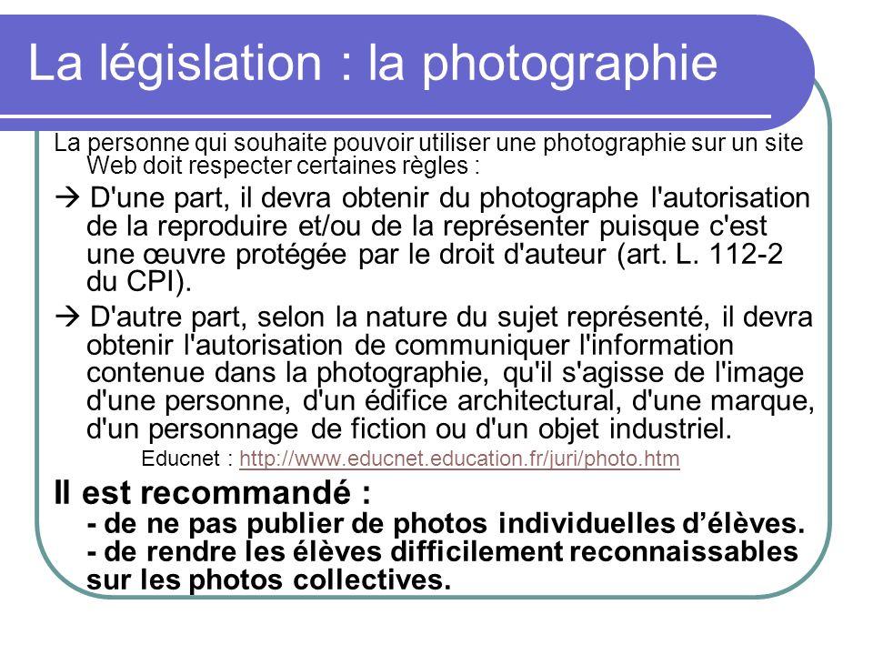 La législation : la photographie