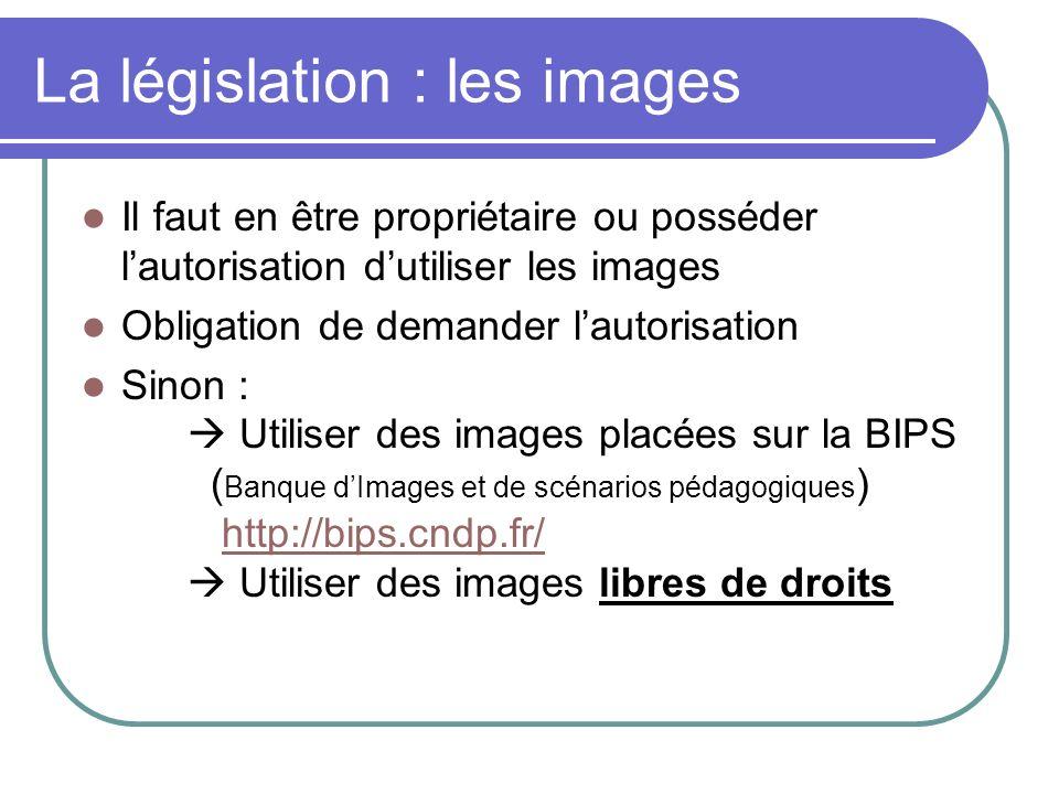La législation : les images