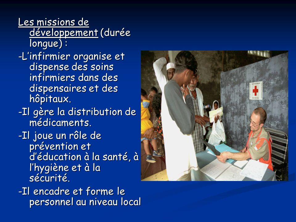 Les missions de développement (durée longue) :