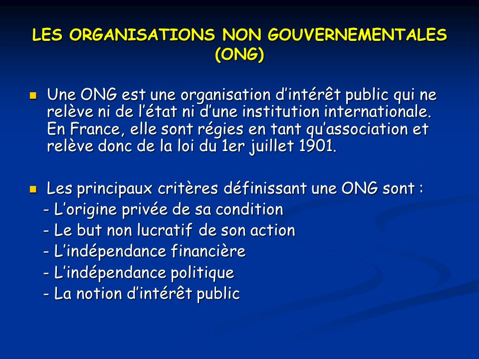 LES ORGANISATIONS NON GOUVERNEMENTALES (ONG)