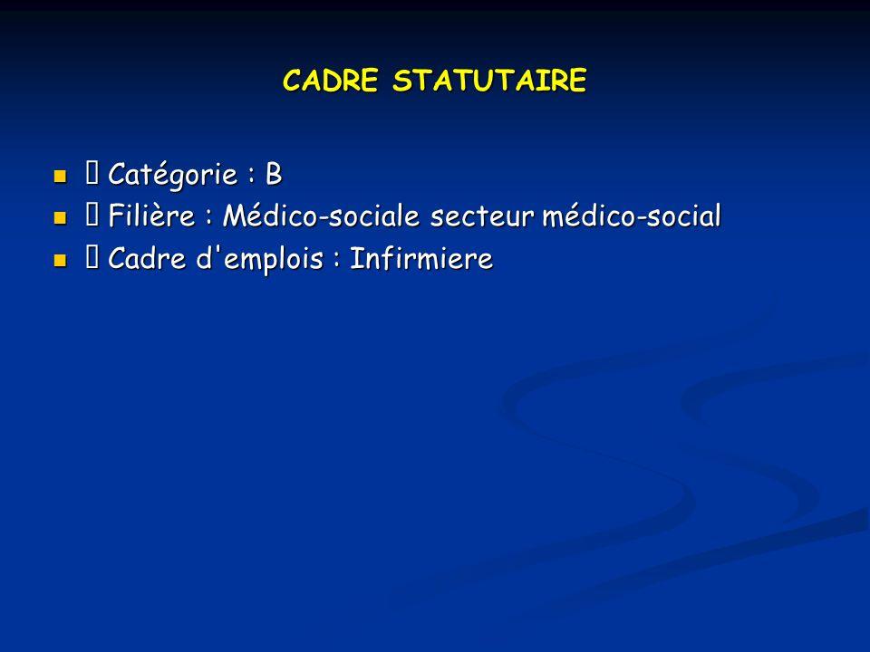CADRE STATUTAIRE  Catégorie : B.  Filière : Médico-sociale secteur médico-social.