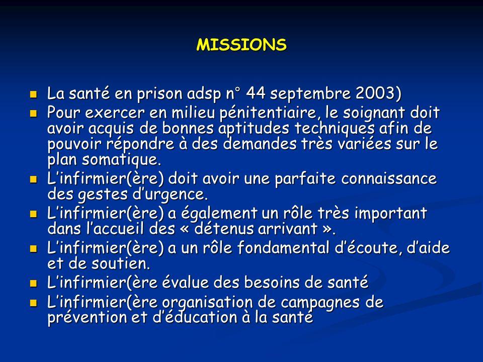 MISSIONS La santé en prison adsp n° 44 septembre 2003)