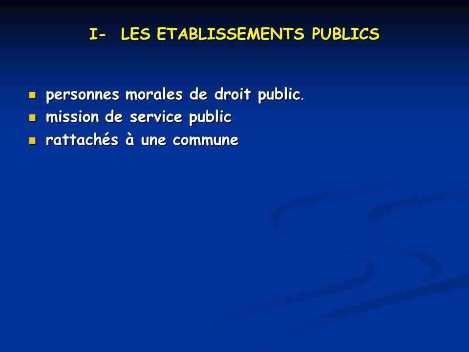 I- LES ETABLISSEMENTS PUBLICS