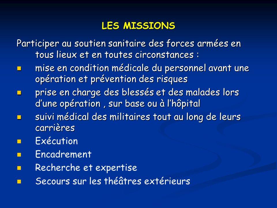 LES MISSIONS Participer au soutien sanitaire des forces armées en tous lieux et en toutes circonstances :