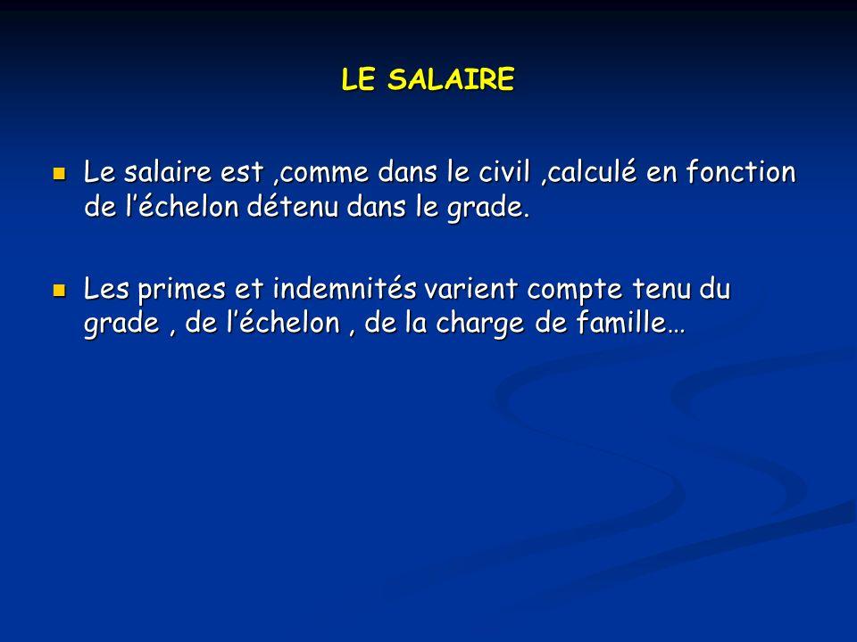 LE SALAIRE Le salaire est ,comme dans le civil ,calculé en fonction de l'échelon détenu dans le grade.
