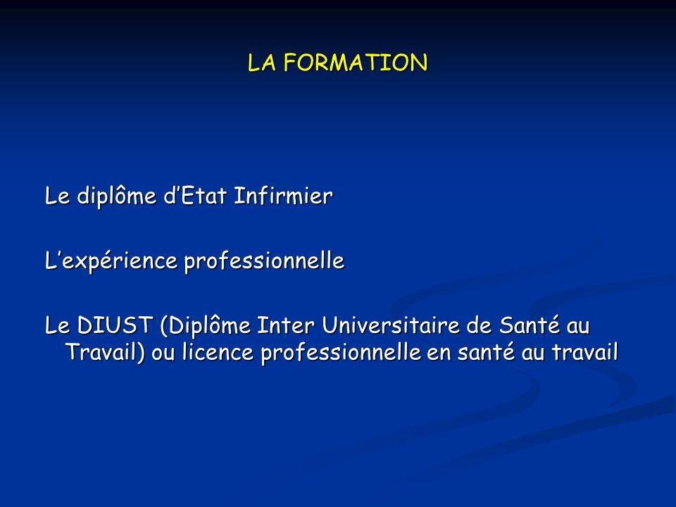 LA FORMATION Le diplôme d'Etat Infirmier. L'expérience professionnelle.
