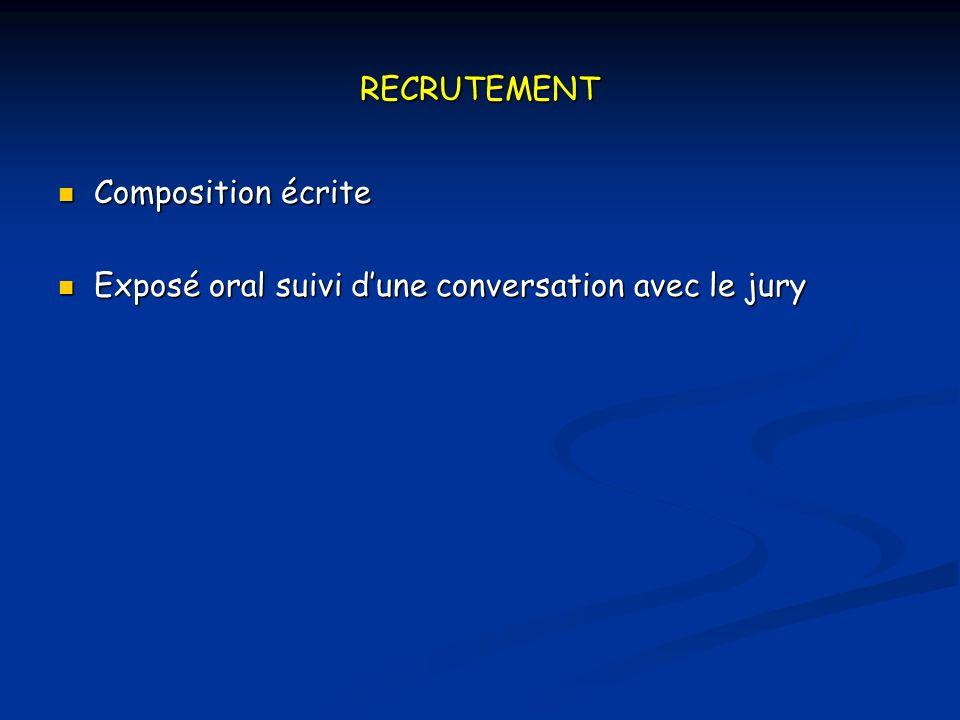 RECRUTEMENT Composition écrite Exposé oral suivi d'une conversation avec le jury