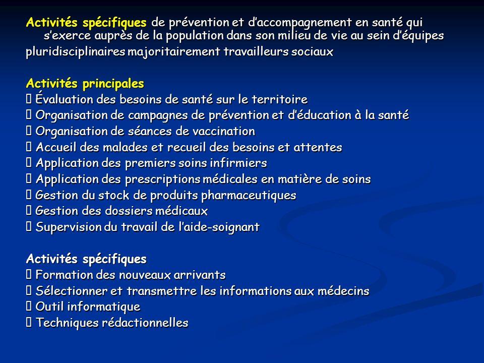Activités spécifiques de prévention et d'accompagnement en santé qui s'exerce auprès de la population dans son milieu de vie au sein d'équipes