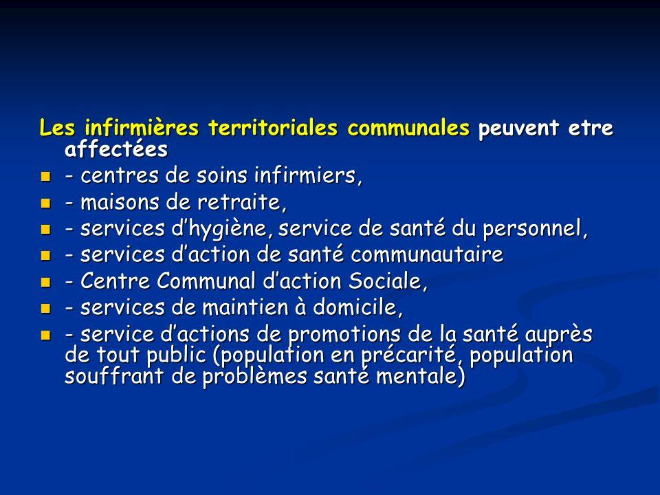 Les infirmières territoriales communales peuvent etre affectées