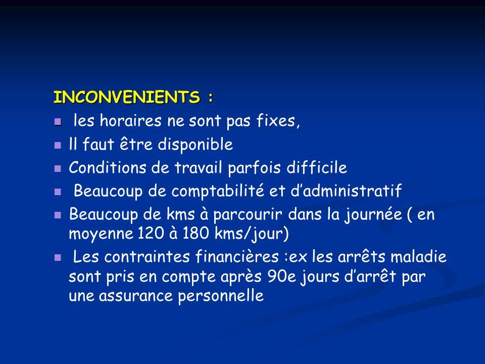 INCONVENIENTS : les horaires ne sont pas fixes, ll faut être disponible. Conditions de travail parfois difficile.