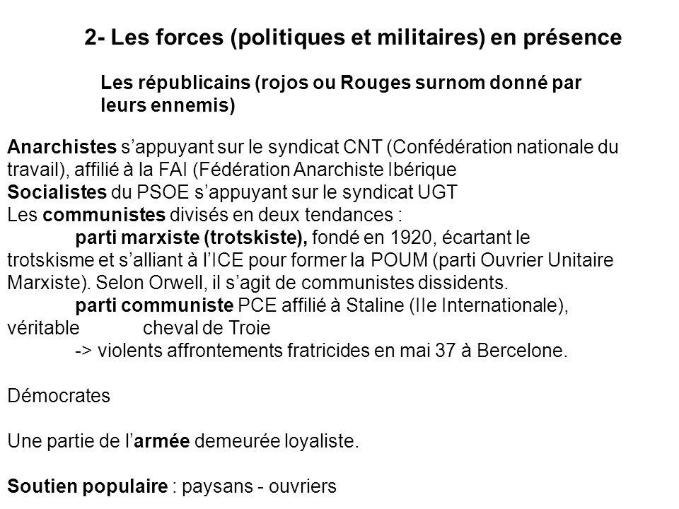 2- Les forces (politiques et militaires) en présence